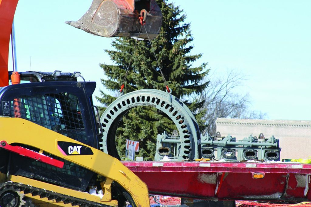 The large cog was loaded onto a flat bed truck on Tuesday, March 6.