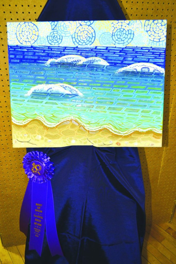 """The 2018 Hawley Art Show, Best of Show winner was Suzanne Moser. She worked with the Arylic medium. this year. The work is named """"Sea Glass"""" and will be on display throughout the show."""
