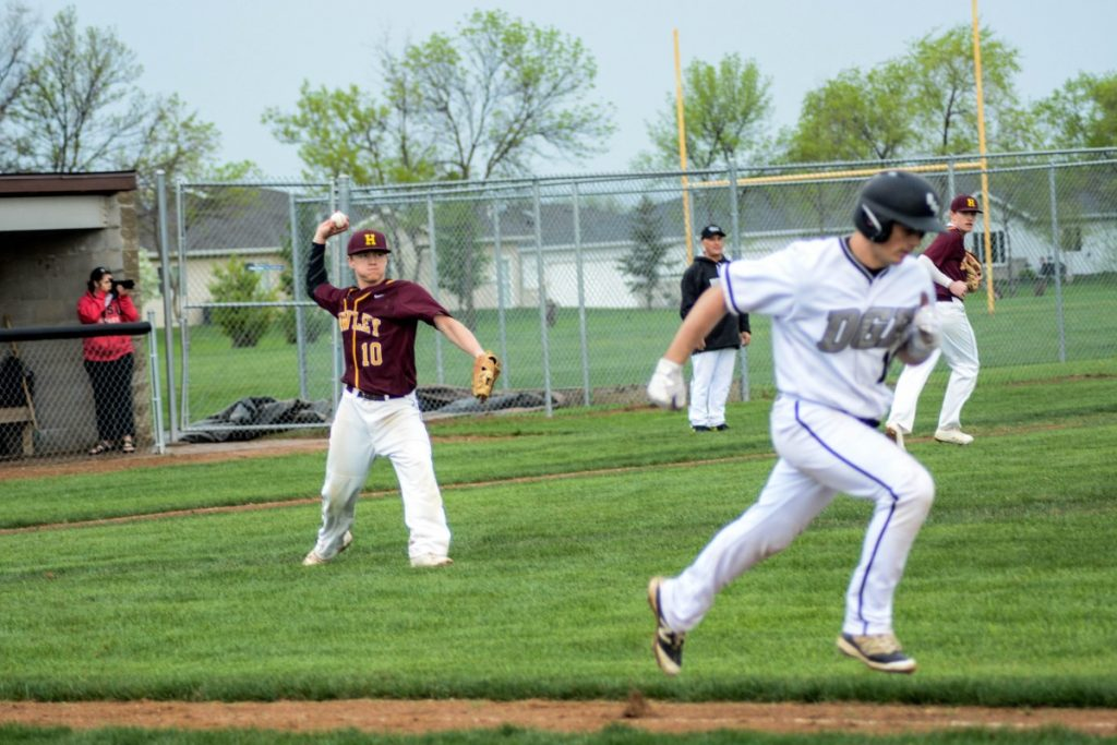 Hawley pitcher Trayton Cossette throws out a DGF bunter. (Photo by Breana Orlando)