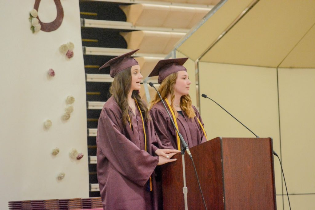 Erin Cain and Hayley Bercier gave a fun address to the Graduates.