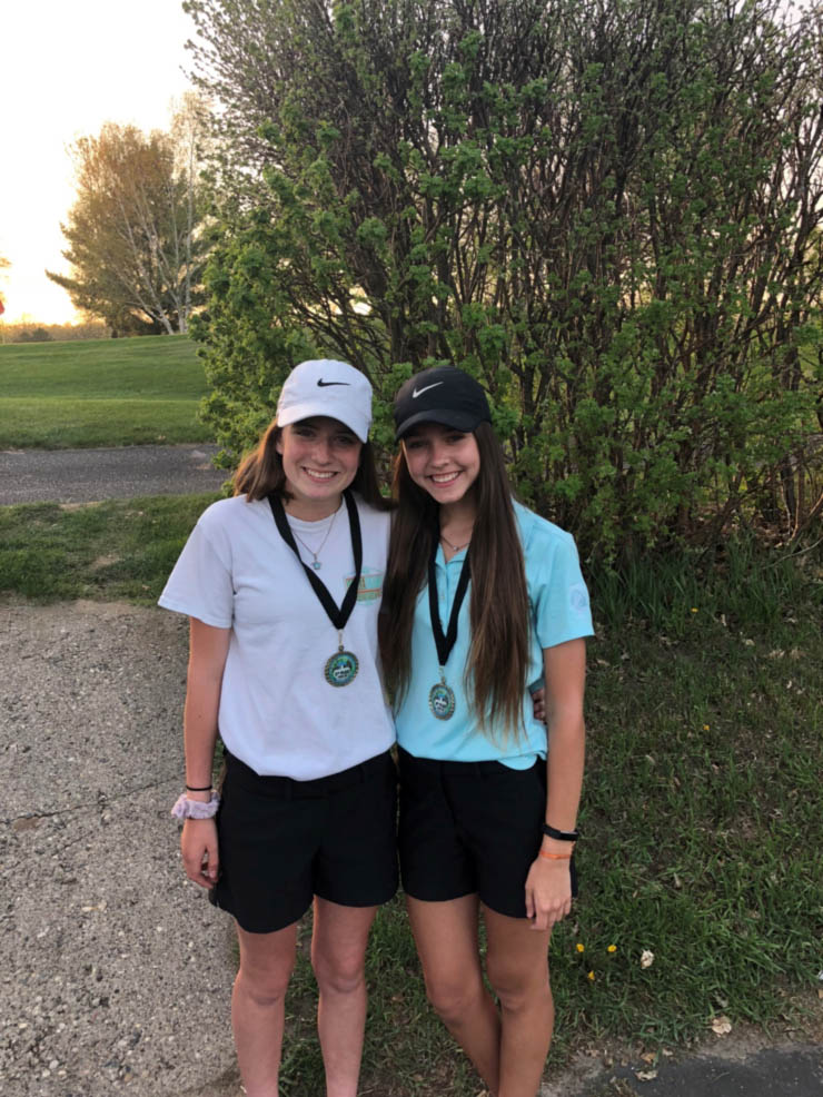 Mia Tickle (5th) and Riley Larson Adams (3rd) with their medals after the exciting Frazee meet! Way to go Girls!!